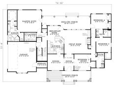 First Floor Plan of Country   Southern   House Plan 61377