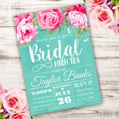 Printable Bridal Hight Tea Invitation Template. Invite your guests to your Bridal Shower with our printable invitations.