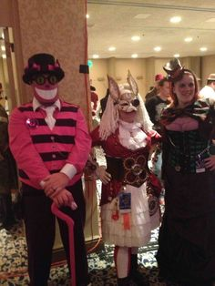 #steampunk Alice in Wonderland #CheshireCat #WhiteRabbit #MadHatter at #dragoncon 2013