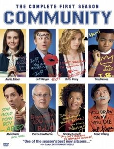 This release contains every episode from the debut season of NBC's sitcom COMMUNITY, about a shady lawyer (Joel McHale) who must return to college and starts a study group full of wacky fellow communi Community Season 1, Community Series, Community Tv Show, Community College, Narnia, Gossip Girl, Sherlock, Joel Mchale, Pop Culture References