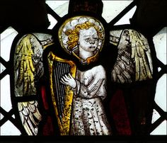 angel playing a harp. St Mary Magdalene, Mulbarton, Norfolk