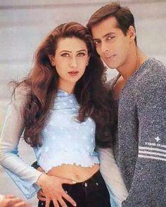 Salman Khan with Karishma Kapoor Bollywood Makeup, Bollywood Outfits, Bollywood Couples, Bollywood Stars, Indian Actresses, Actors & Actresses, Salman Khan Wallpapers, Style Icons Inspiration, Salman Khan Photo