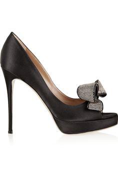 VALENTINO  Jewelry Couture satin peep-toe pumps  $895