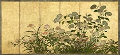 Flowers: chrysanthemums, peonies, etc. Japanese folding Screen (six-panel), one of a pair. Edo period, 18th-19th century. Color, gesso, and gold on paper. Freer