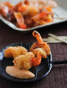 Coconut Shrimp With Sweet Chili Mayo By Jaden Hair. Recipe: http://www.simplyrecipes.com/recipes/coconut_shrimp_with_sweet_chili_mayo/