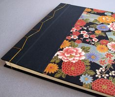 "IONA BINDING - Handmade photo album measures 14,25"" x 13,54"". Covered with Japanese fabric and black fabric."