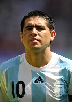 Juan Riquelme of Argentina during the Men's Gold Medal football match between Nigeria and Argentina at the National Stadium on Day 15 of the Beijing. Beijing Olympics, Football Match, Football Soccer, Argentina Football, Diego Armando, Andrea Pirlo, Football Tournament, Football Images