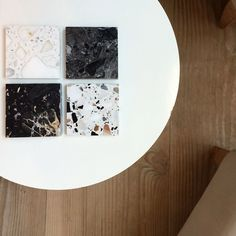 Mini terrazzo samples / coffee coasters #interiordesign #terrazzo…