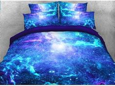 Blue Starry Sky Galaxy Bedding Sets/Duvet Cover Sets With Hidden Zipper And Ties – Galaxy Art Blue Bedding Sets, Nursery Bedding Sets Girl, Cheap Bedding Sets, Luxury Bedding Sets, Dorm Bedding, Linen Bedding, Bed Linens, College Bedding, Affordable Bedding