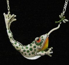 """Whimsical Silver Frog & Dragonfly Necklace """"I Can Almost Flippin' Taste It"""" On Silver Chain. $1,950.00, via Etsy."""