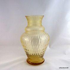 "Borske Sklo Tall Amber Optic Glass ""Caro"" Vase - Vintage 1950s - 1960s Bohemian Glassware by soflacollectors86 on Etsy"