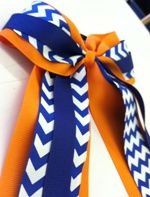 Orange and Blue Chevron Bow with Tails at The Gator Shop