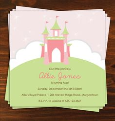Princess Birthday Party Invitations by LindsayBrittonDesign