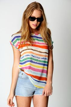 Felicity Multicolour Stripe Shell Top at boohoo.com