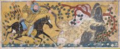 Bahram Chubina Kills the Lion-Shaped Ape Monster Folio from a Shahnama (Book of Kings) Abu'l Qasim Firdausi (935–1020) Folio from an illustrated manuscript ca. 1300–30 Northwestern Iran or Baghdad