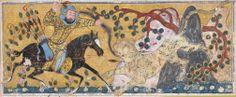 Bahram Chubina Kills the Lion-Shaped Ape Monster Folio from a Shahnama (Book of Kings) Abu'l Qasim Firdausi (935–1020) Folio from an illustrated manuscript ca. 1300–30 Northwestern Iran or Baghdad