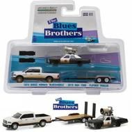 2015 Dodge Ram & 1974 Dodge Monaco Bluesmobile Flatbed Trailer Blues Brothers 1/64 Scale Diecast Model By Greenlight 31010 C