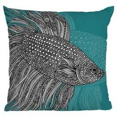 Multicolor throw pillow with a detailed beta fish motif. Designed by artist Valentina Ramos.     Product: PillowConstruction Material: Woven polyester cover and polyester fillColor: BlueFeatures:  Sealed closureInsert includedSix color dye process, custom printed for every orderDesigned by Valentina Ramos for DENY Designs Cleaning and Care: Spot treat with mild detergent