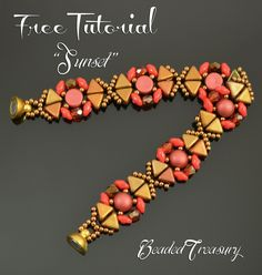 "Beaded Treasury: Free Beading Tutorial - ""SUNSET"" bracelet"