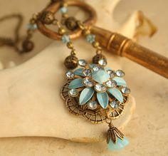 Perfume Necklace, Poison Pendant, Secret Compartment, Blue Flower