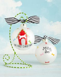 H7WM8 Coton Colors My First Christmas Doghouse Christmas Ornament