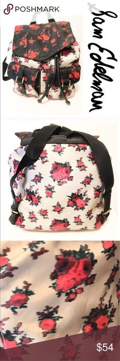 NWT SAM EDELMAN BACKPACK Truly awesome Sam Edelman backpack.  Black and light gray nylon with fruit like splashes pink, plum and green.  Two small front pockets with faux leather straps and gold buckles.  Faux leather drawstring.  Nylon shoulder straps with faux leather adjustable straps with gold buckle.  Black. Lyon interior with one zippered pocket.  One very small spot on exterior (pictured) really have to search for it to see it Sam Edelman Bags Backpacks