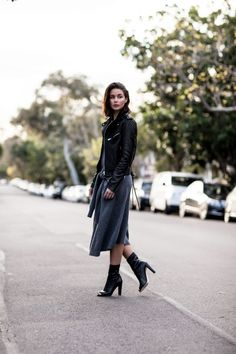 IRO black leather jacket, Joseph grey knot dress and Stuart Weitzman black booties   Harper & Harley