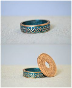 Thailand Coin Ring - Made with a 1941 Kingdom of Thailand 1 Satang Coin Purple Rings, Green Rings, Turquoise Rings, Silver Rings, Silver Bracelets, Small Rings, Rings Cool, Unique Rings, Beautiful Rings