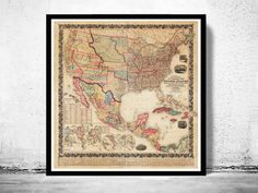 Old Map of United States 1856 Vintage Map