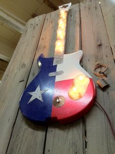 Texas flag Light fixture guitar repurposed by WestVintageTradingCo, $350.00