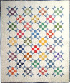 """Lights in the corners, 9-patch & snowball. Blocks are about 6"""" finished. At http://rosemasonquilts.com/Patterns/vintage-9-patch.html"""