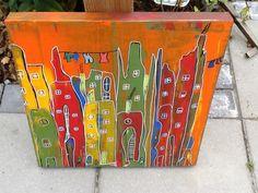 abstrakte skæve huse.. akryl maling