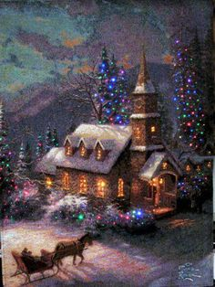 Church at Christmas time / Christmas Scene / - - - Bookmark Your Local 14 day Weather FREE > www.weathertrends360.com/dashboard No Ads or Apps or Hidden Costs