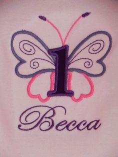 Butterfly Birthday - Embroidered BUTTERFLY Themed Bodysuit