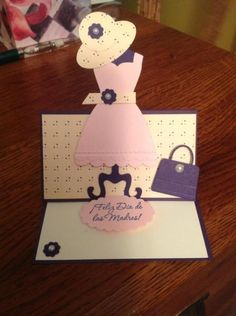 A Stampin' Up! Dress Card, Easel Cards, Mothers Day Crafts, Important Dates, Creative Cards, Cute Cards, Holidays And Events, Diy Gifts, Marie