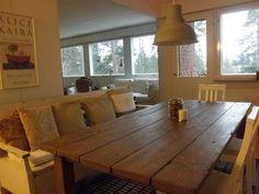 Romuritari - Lankkupöytä Diy Table, Dining Table, Sweet Home, Indoor, Rustic, House, Inspiration, Furniture, Tables