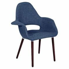 "Bring chic style to your living room or den with this midcentury-inspired accent chair, showcasing navy upholstery and exposed beech wood legs.  Product: ChairConstruction Material: Acrylic and beech woodColor: NavyFeatures:  Cut-out backFlared armsDimensions: 33.5"" H x 25.6"" W x 28.8"" D"
