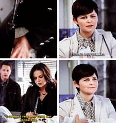 Snows face when she catches Regina with Emmas blanket