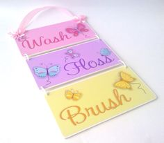 butterflies themed wash floss and brush  set of 3 by kasefazem, $44.99