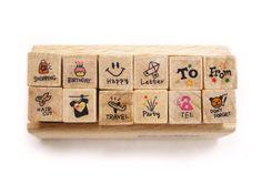 Mini Wooden Stamp Set Rubber Stamps Set  12pcs  by LittleJenStore