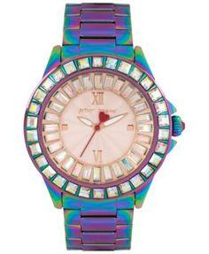 Betsey Johnson Women's Iridescent Stainless Steel Bracelet Watch 40mm BJ00004-34