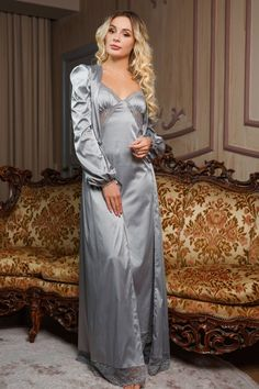 Robe Satin and Lace along with Long Sleep Shirt with Lace on the sides and hem in gift wrapping / Beautiful Gift for a Girl Long Robe Satin and Lace along with Long Sleep Shirt with Lace Pyjama Satin, Satin Nightie, Satin Sleepwear, Sleepwear Women, Pajamas Women, Lace Nightgown, Belle Lingerie, Satin Lingerie, Pretty Lingerie