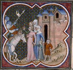 1370 France. Ville attaquée, soldats et civils Miniature object