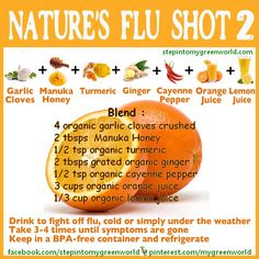 Nature's Flu Shot 2: 4 organic garlic cloves crushed, 2 tbsp manuka honey, 1/2 tsp organic turmeric, 2 tbsp grated organic ginger, 1/2 tsp organic cayenne pepper, 3 cups organic orange juice, 1/3 cup organic lemon juice. Blend all ingredients and take 3-4 times until symptoms are gone. Found on God's Garden of Eden on Facebook