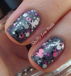 Shelby Lou Nails: You Polish - Calaveritas, glitter topper with skull glitters!