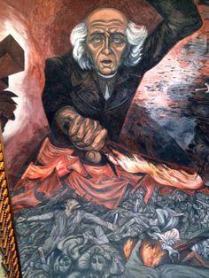 Mural de José Clemente Orozco en el interior del Palacio de Gobierno de Jalisco, en el centro de Guadalajara.