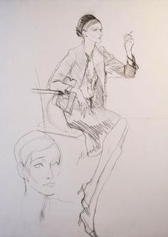 Art - Drawing - Pencil Drawing of Sian Phillips Wearing Chanel Suit & Hat. Paris, 1960-1964. Signed by the Artist.