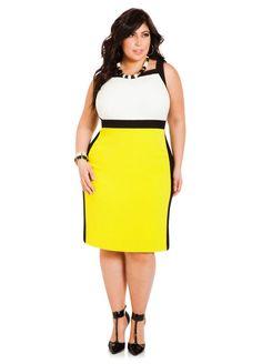 Sleeveless Tri-Tone Crepe Dress - Ashley Stewart