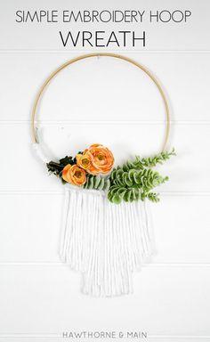 Embroidery Hoop Wreath Tutorial