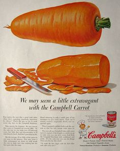 1955 Campbell's Vegetable Soup Ad ~ Campbell's Carrots